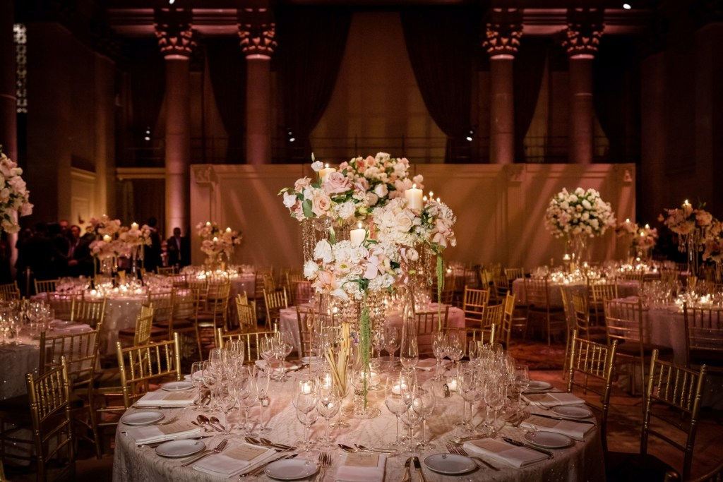 A wedding reception setting at Cipriani Wall Street in New York City.