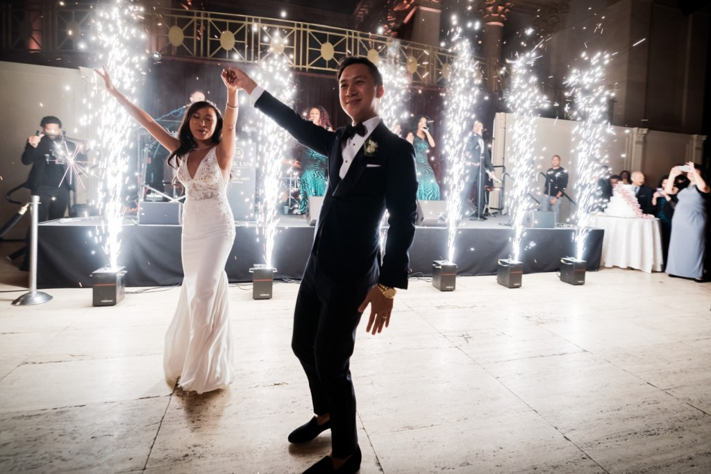 A first dance as a husband and wife during a wedding reception at Cipriani Wall Street in New York City. Wedding Dress by Pronovias. Music by Hank Lane Band