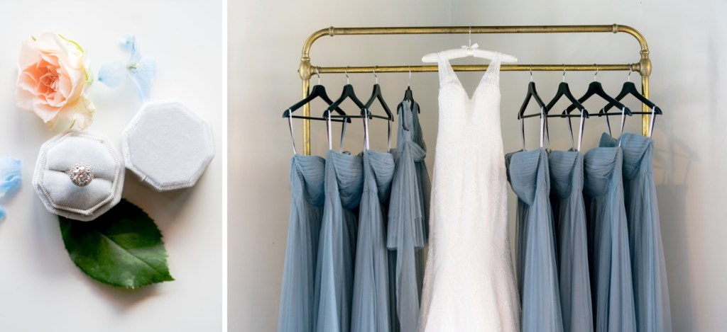 Bridal wedding ring and a wedding dresses at Liberty Warehouse in Brooklyn, New York.