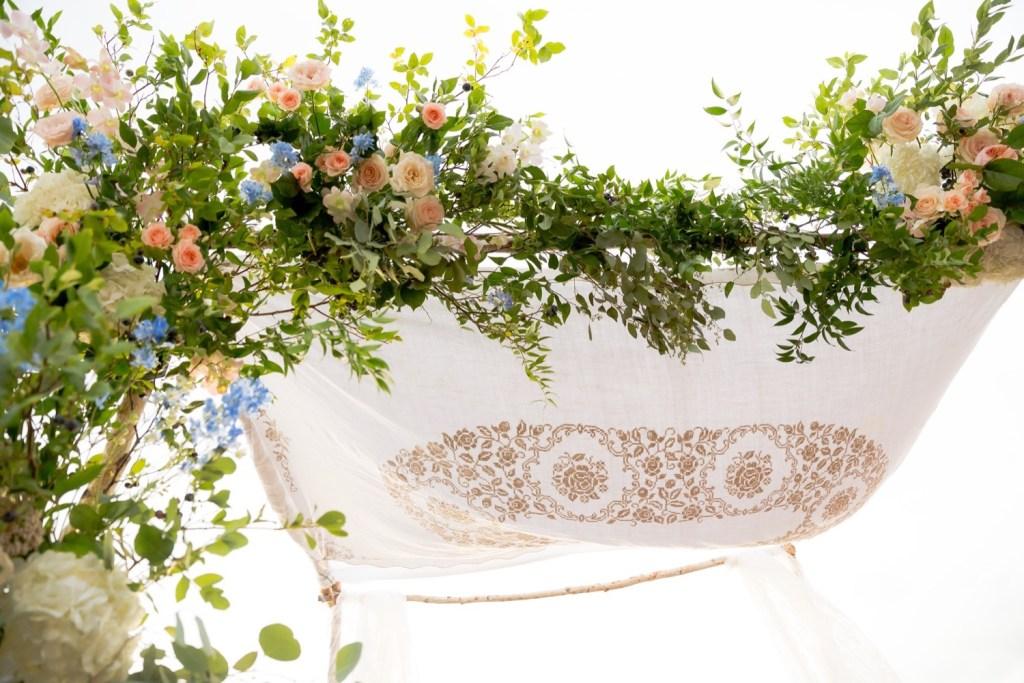 A jewish wedding ceremony setting, chuppah, at Liberty Warehouse, Brooklyn New York.