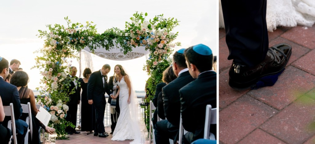 A groom stepping and breaking a glass during a jewish wedding ceremony at Liberty Warehouse, Brooklyn New York.