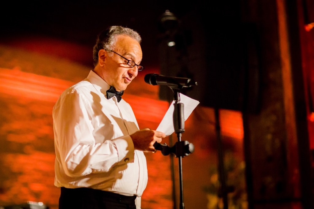 A weeding speech from a parent during a wedding reception at Liberty Warehouse, Brooklyn New York.
