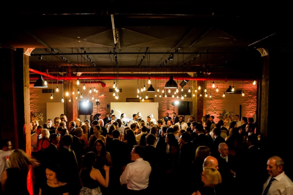 A scene of wedding reception at Liberty Warehouse, Brooklyn New York.