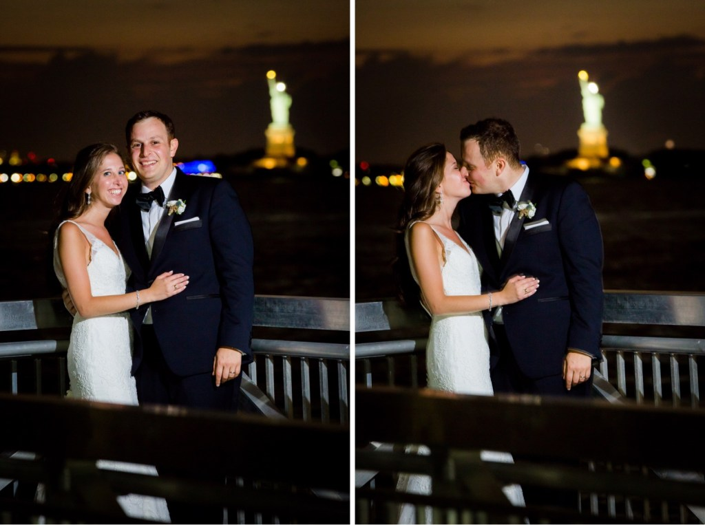 A portrait of newly wedded couple with a statue of liberty near Liberty Warehouse, Brooklyn New York.