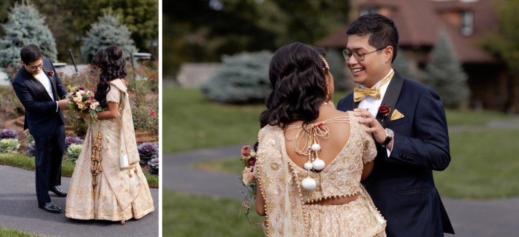 A groom seeing his bride for the first time during a first look on a wedding day at the Tappan Hill Mansion.