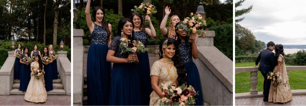 A bride and her bridesmaids posing for a picture at the Tappan Hill Mansion.