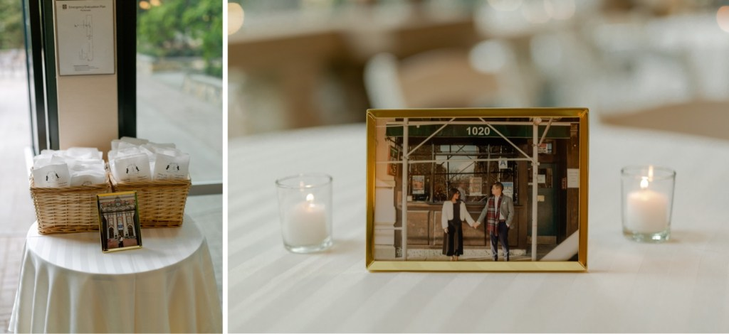 Wedding items for guests and an portrait picture of the wedding couple at the Tappan Hill Mansion.