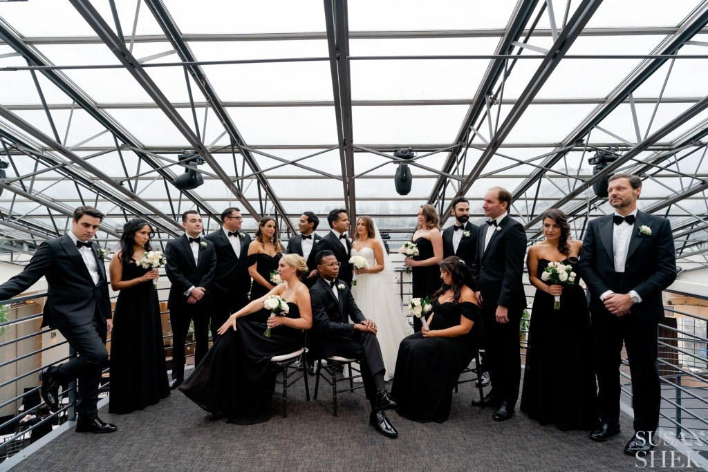 wedding party portraits inside tribeca rooftop