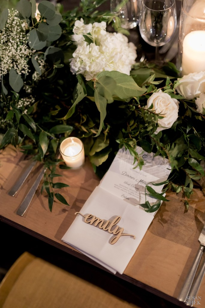 Laser cut names on wedding table