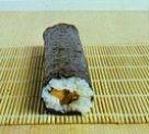 The maki sushi before cutting