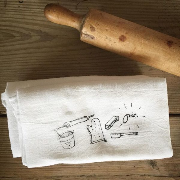 hand printed PIE flour sack towel