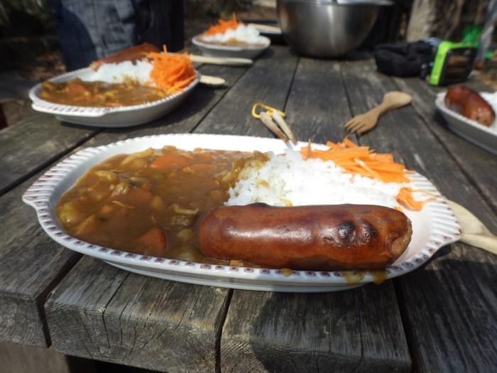 飯盒炊爨,焚き火ソーセージ,カレー
