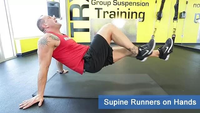 TRX leg exercises - surpine runners on hands
