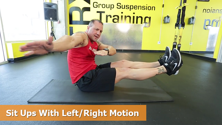 TRX core workouts - Sit ups with left / right motion