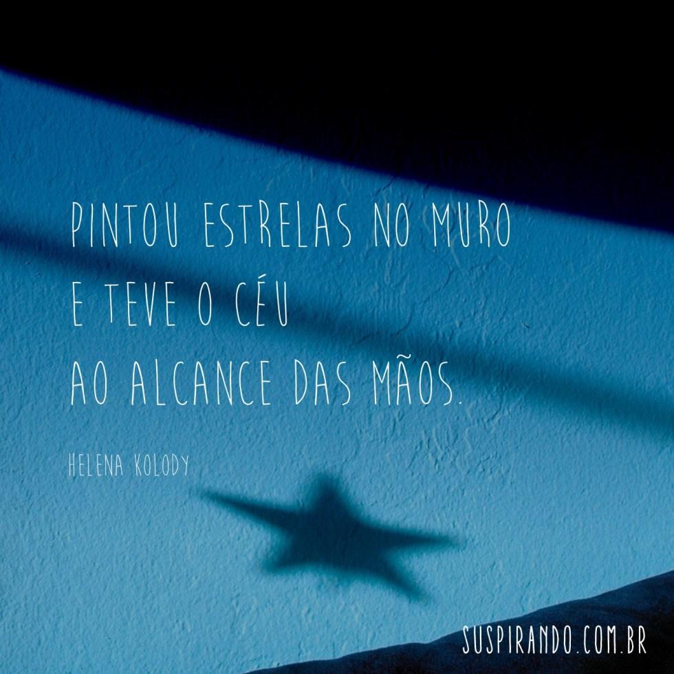 Poesia mínima Pintou estrelas no muro e teve o céu ao alcance das mãos. (Helena Kolody)
