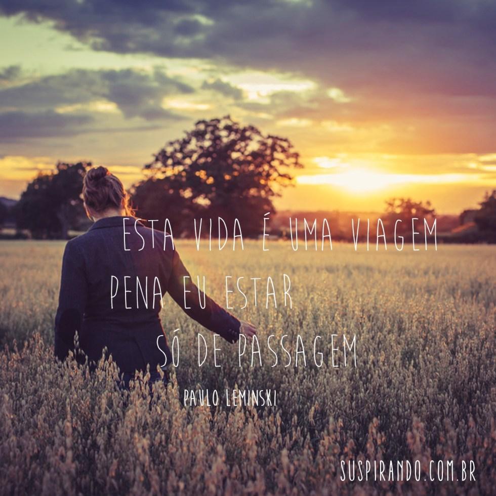 esta vida é uma viagem / pena eu estar / só de passagem (Paulo Leminski)