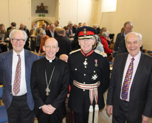 Christopher Whittick (Chairman of SHCT), Bishop Martin, Lord Lieutenant and Graham Pound (County organiser of R&S)