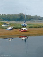 A painting of moored boats on the River Taw in Barnstaple, Devon by Glen Smith
