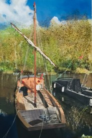 A painting in acrylics of moored Loire Scows By Glen Smith