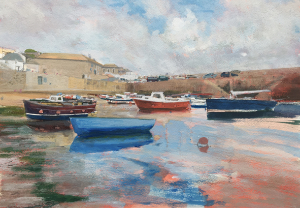 A painting in progress by Glen Smith of Mousehole in Cornwall, depicting moored boats in the harbour at low tide