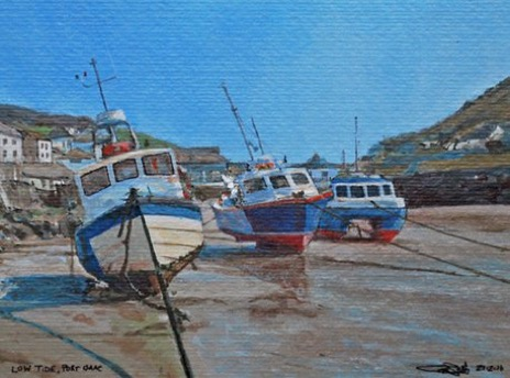 Charity postcard donated by Glen Smith entitled 'Port Isaac, Low Tide'