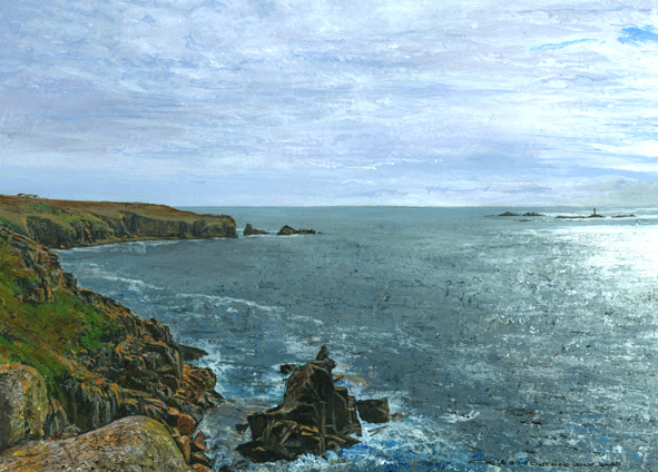 A painting in acrylics of Land's End in Cornwall from The Lookout, Sennen by Glen Smith