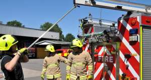 Firefighters in Horley