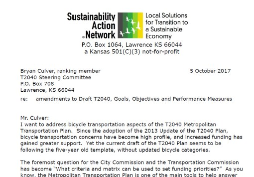 Bicycle transportation aspects of the T2040 Metropolitan Transportation Plan for Lawrence KS.