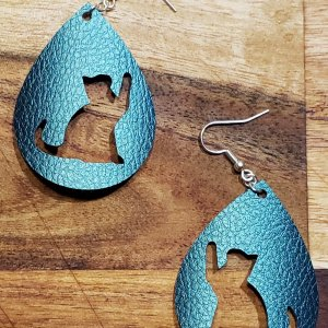 cat pawing at air cut out of teardrop earrings