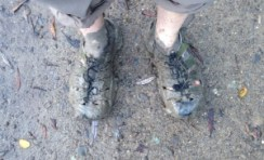 Muddy Sandals on the trail
