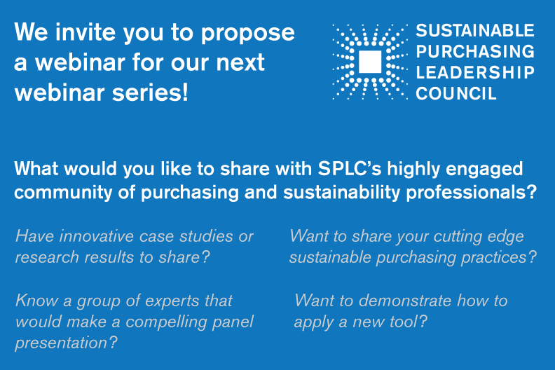 SPLC Webinar Series: Call for Proposals | SUSTAINABLE