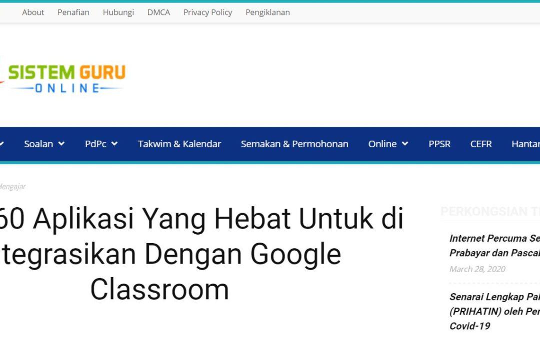 Lebih 60 Aplikasi Yang Hebat Untuk di Integrasikan Dengan Google Classroom