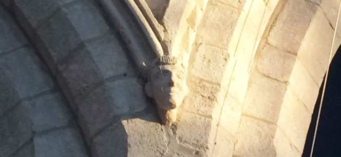 Carving of stone face, inside St Mary's Church
