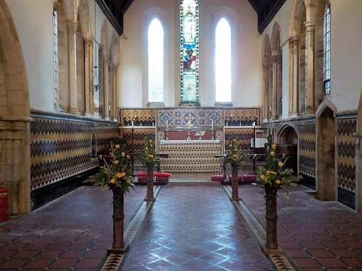 Floral display in the chancel