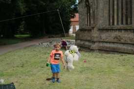 Abseiling bear at Sutterton Church