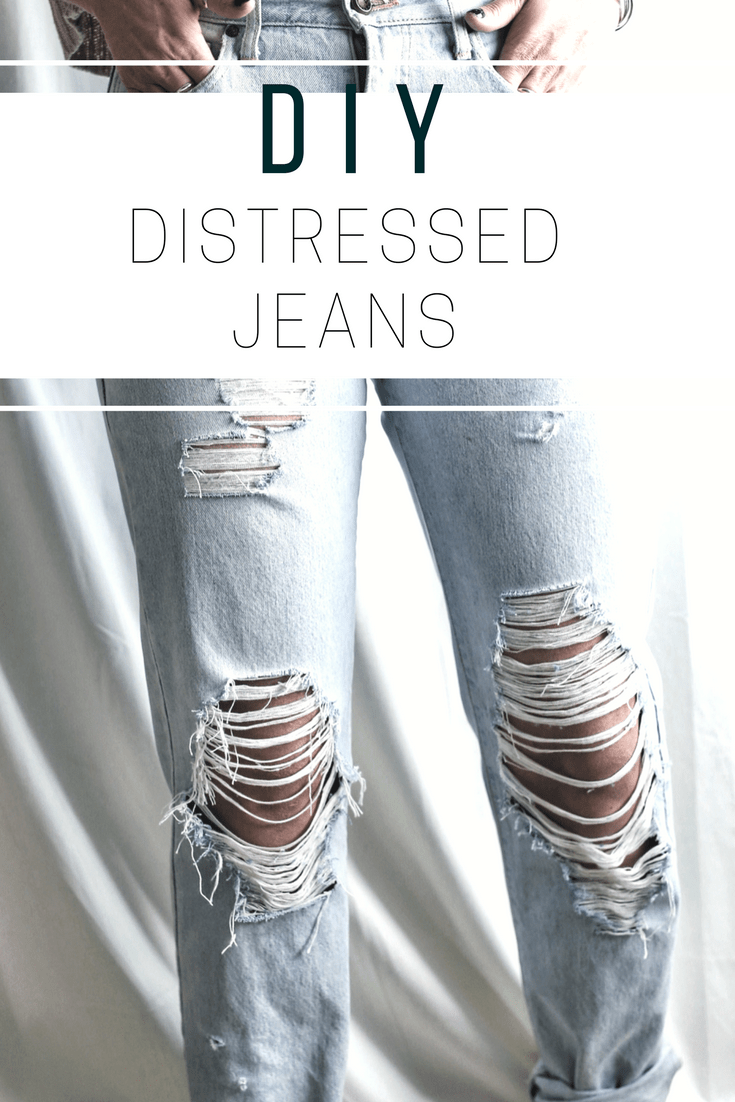 DIY Distressed Jeans | Sutton and Grove
