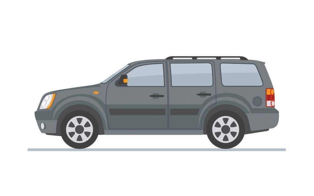 Gray off-road car isolated on white background. Flat style, vector illustration