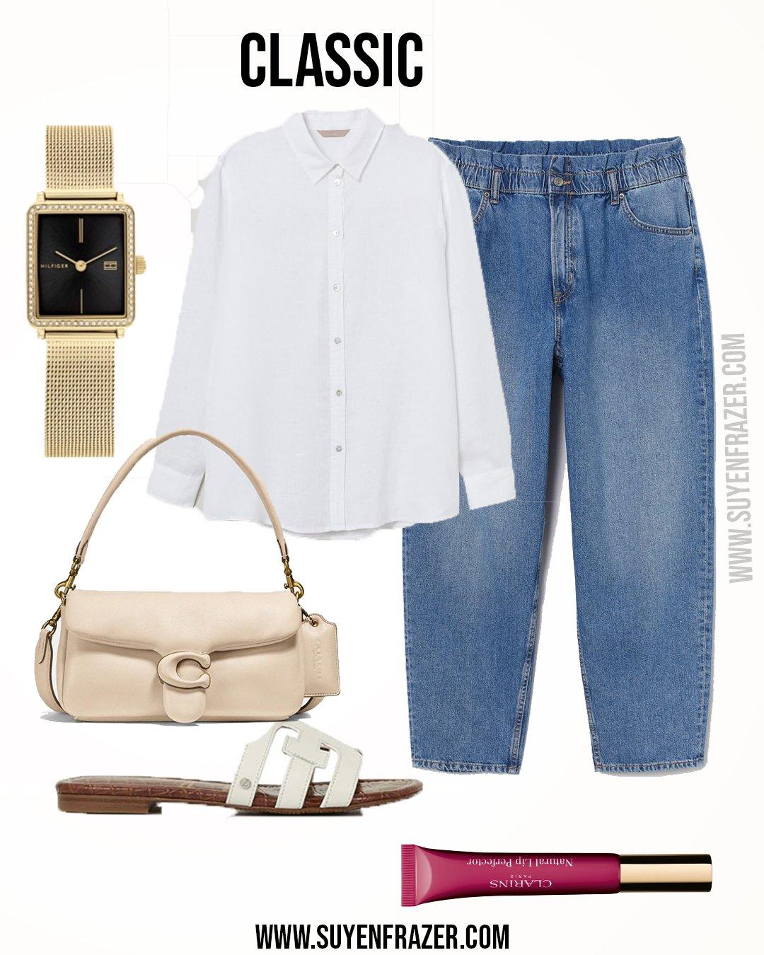 Plus-size Classic Outfit, Mom Jeans & Linen Shirt