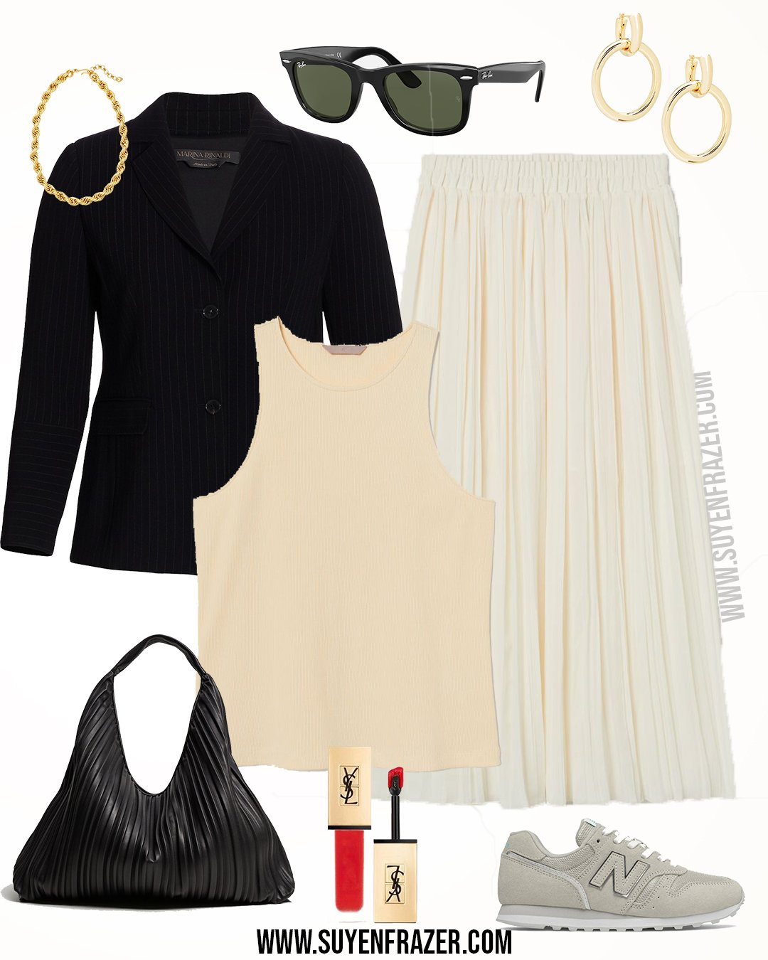 Plus-size Vest Top & Crinkle Midi Skirt Outfit