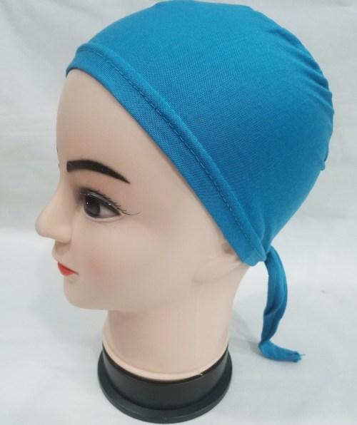 plain tie back bonnet light blue
