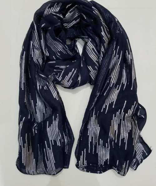 Pasted Sequin Scarf – Navy Blue