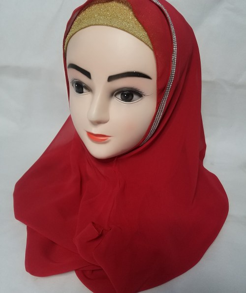 Fancy Two Loops Chiffon Instant Hijab – Red – Front Picture