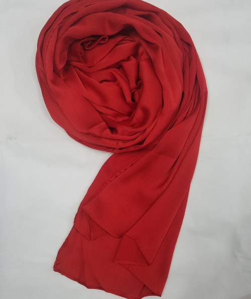 plain satin silk scarf red full picture