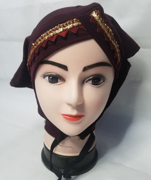 side parting cap with lace maroon front picture