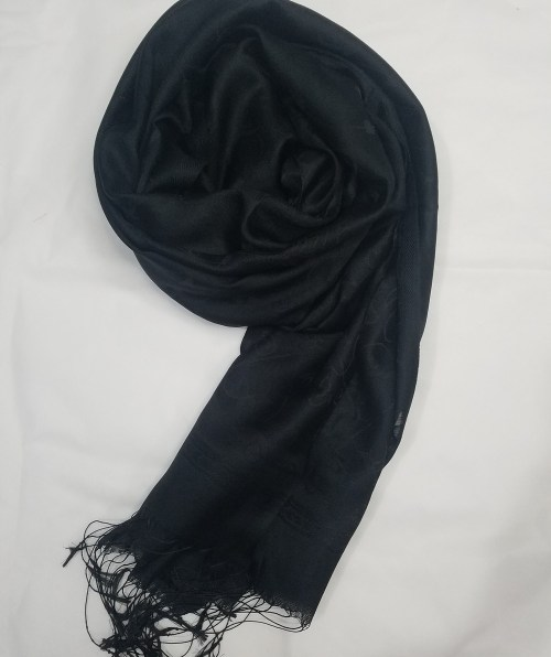 silk printed scarf black front picture