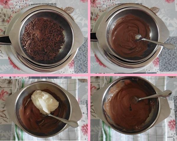 Chocolade taart eigeel melk chocolade slagroommengsel