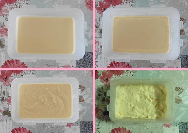 Vanille roomijs bakje ijs ieder half uur door roeren