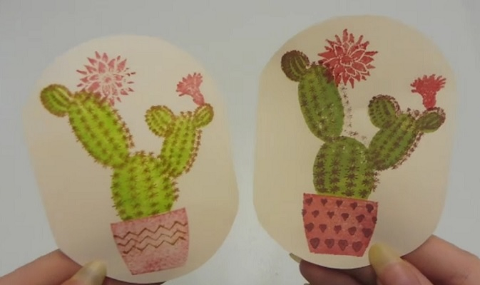 layered stamps cactus