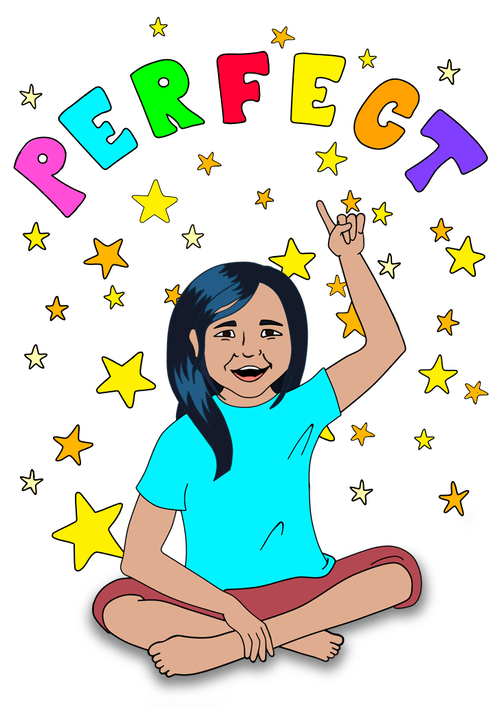 Illustration of picture book Perfect, little girl pointing to word perfect