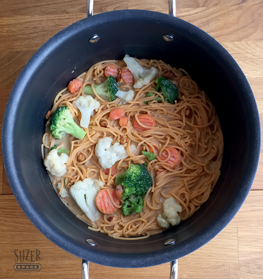 Veggie pasta, peanut butter and frozen veggies make a one pot noodle dish